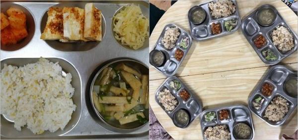 정치하는엄마들 장하나 활동가는 (왼쪽)식판 하나만 사진 촬영할 게 아니라 (오른쪽)배식이 끝난 후 아이들이 먹는 여러 식판을 사진에 담는 것을 제안했다. ⓒ정치하는엄마들