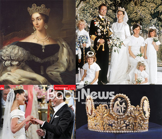 좌측 상단부터 시계방향으로 나폴레옹 황후 조세핀의 초상화, 현 스웨덴 국왕과 실비아 왕비의 결혼식, 카메오 티아라, 빅토리아 공주 결혼식. ⓒ독일 분테, http://www.jewelerslounge.com