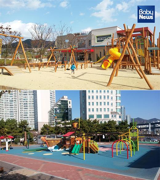 고창육아종합지원센터 놀이터(사진 위)와 부산 수영구 수변어린이공원 놀이터(사진 아래) 등 전국 9개 어린이 놀이터가 올 한해 전국에서 가장 우수한 어린이 놀이시설로 선정됐다. ⓒ행정안전부
